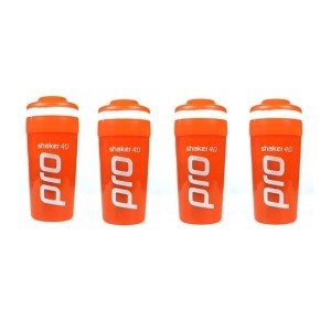 Shaker Pro 40 Protein Shake Mixer Orange - 750ml x 4